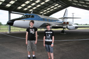 Calvin and Nolan with LBJ's jet, LBJ Ranch.
